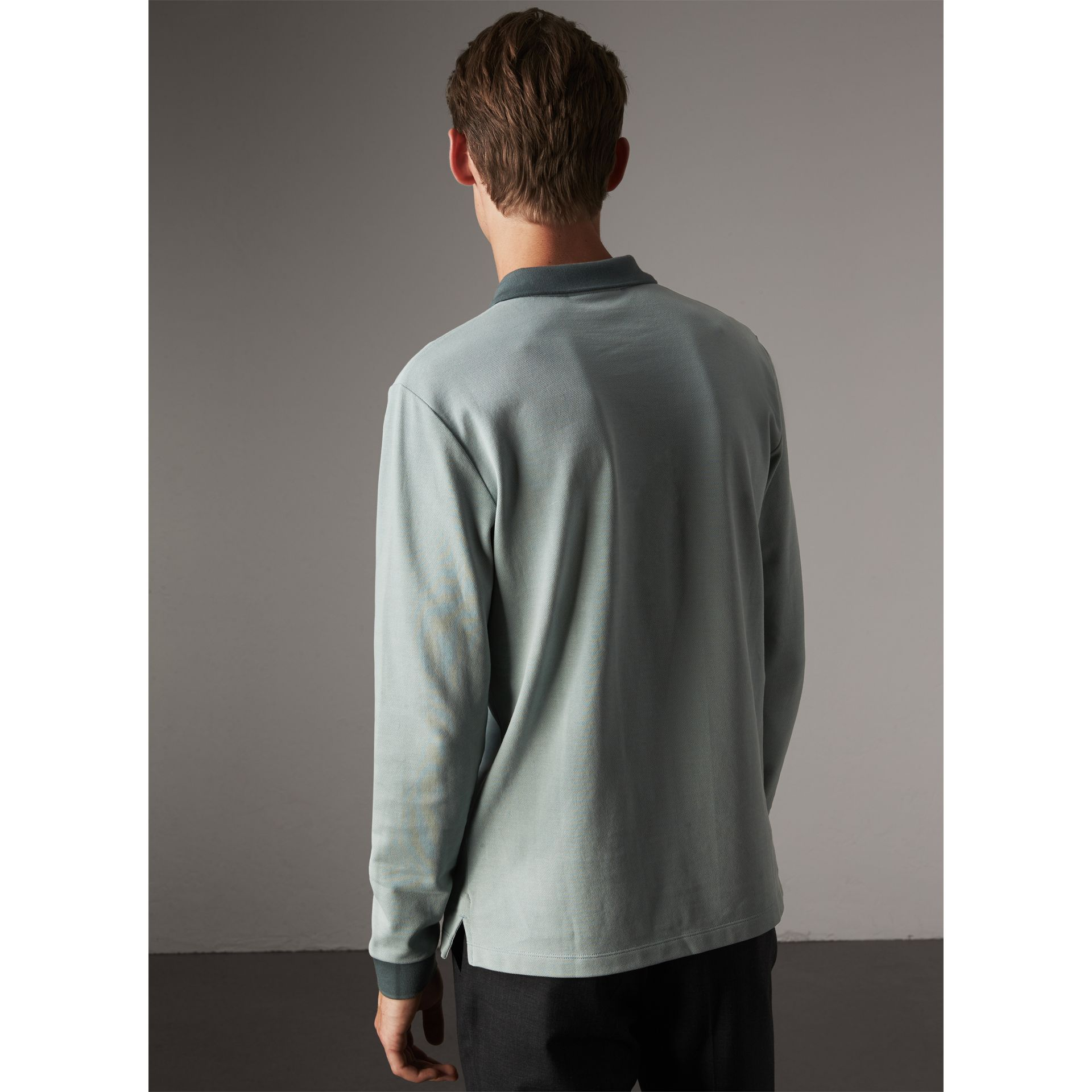 Long-sleeve Cotton Piqué Polo Shirt in Eucalyptus Green - Men | Burberry United Kingdom - gallery image 2