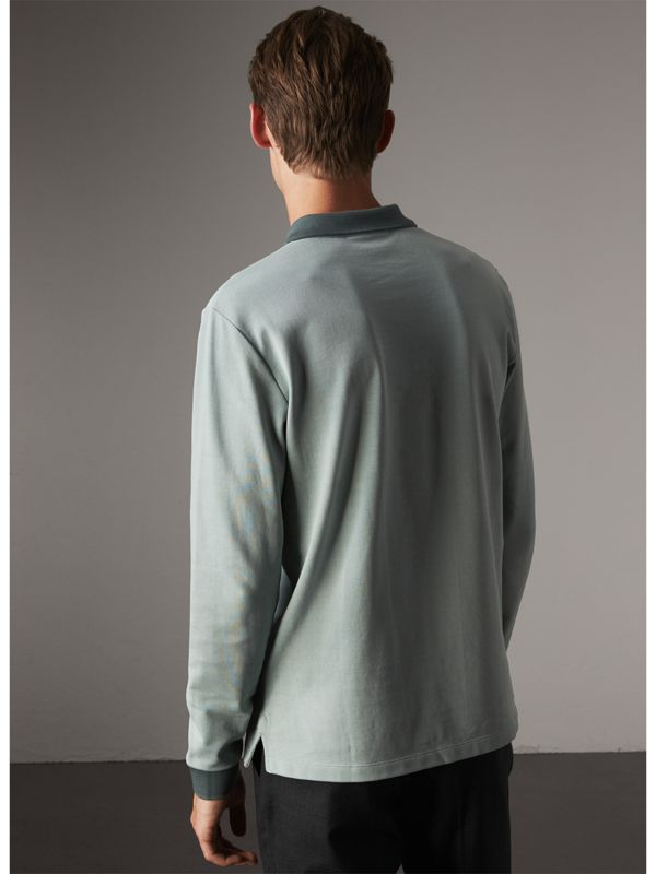 Long-sleeve Cotton Piqué Polo Shirt in Eucalyptus Green - Men | Burberry United Kingdom - cell image 2