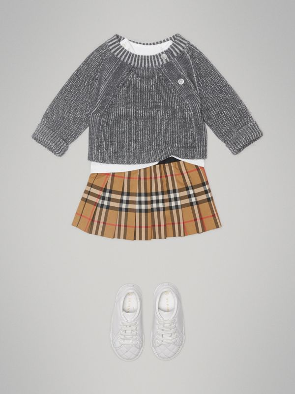 Pleated Vintage Check Cotton Skirt in Antique Yellow - Children | Burberry - cell image 2