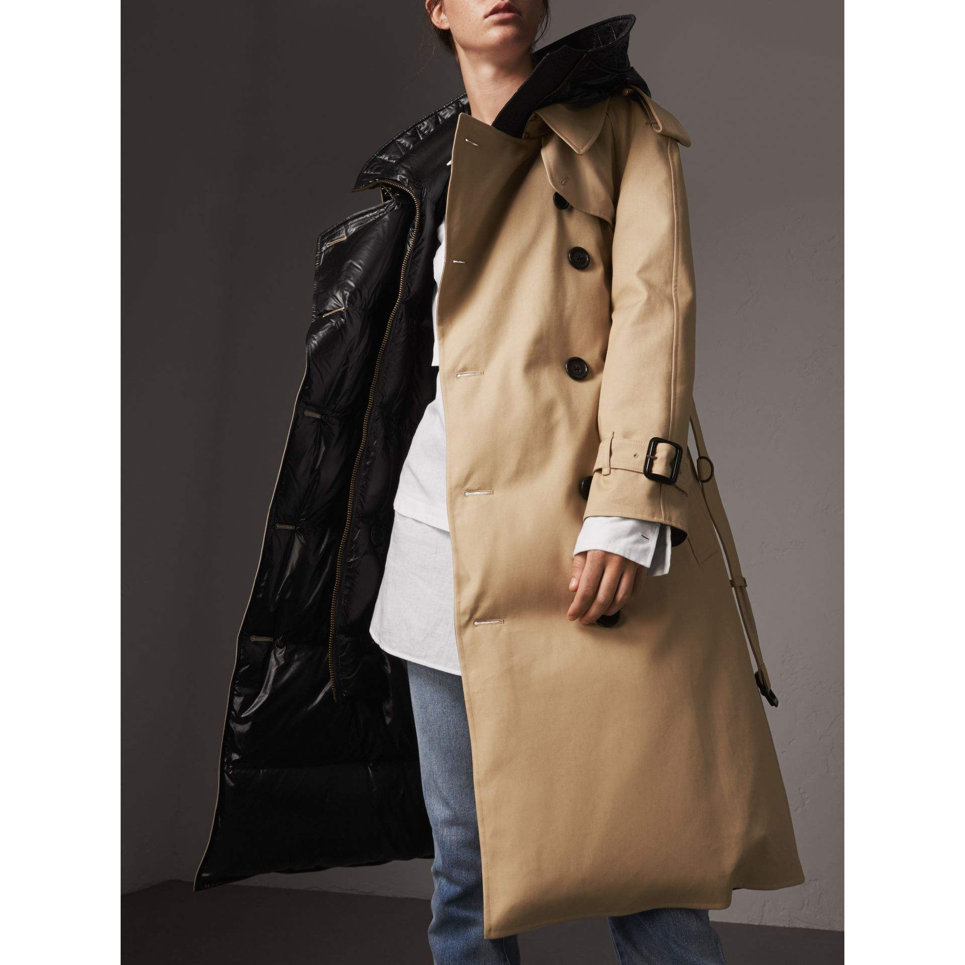 Reversible Down-filled Cotton Gabardine Trench Coat in Honey - Women | Burberry - gallery image 2
