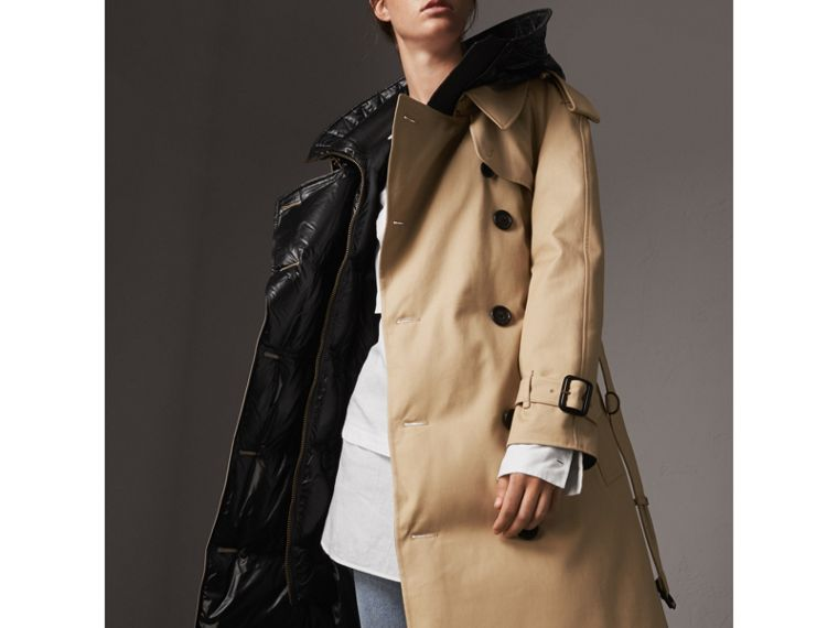Reversible Down-filled Cotton Gabardine Trench Coat in Honey - Women | Burberry - cell image 1