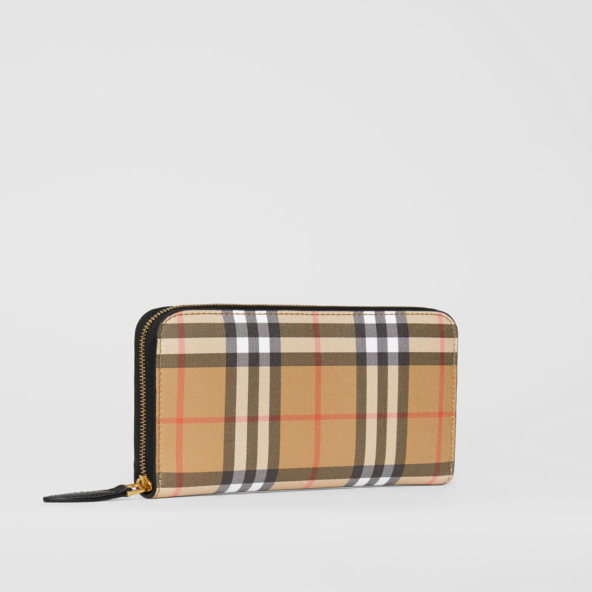 Vintage Check and Leather Ziparound Wallet in Black - Women | Burberry Australia - gallery image 4
