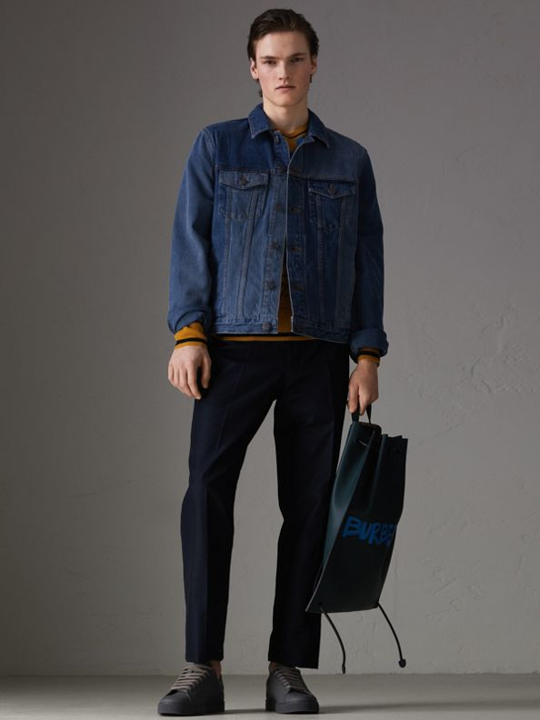 Giacca in denim bicolore (Indaco)