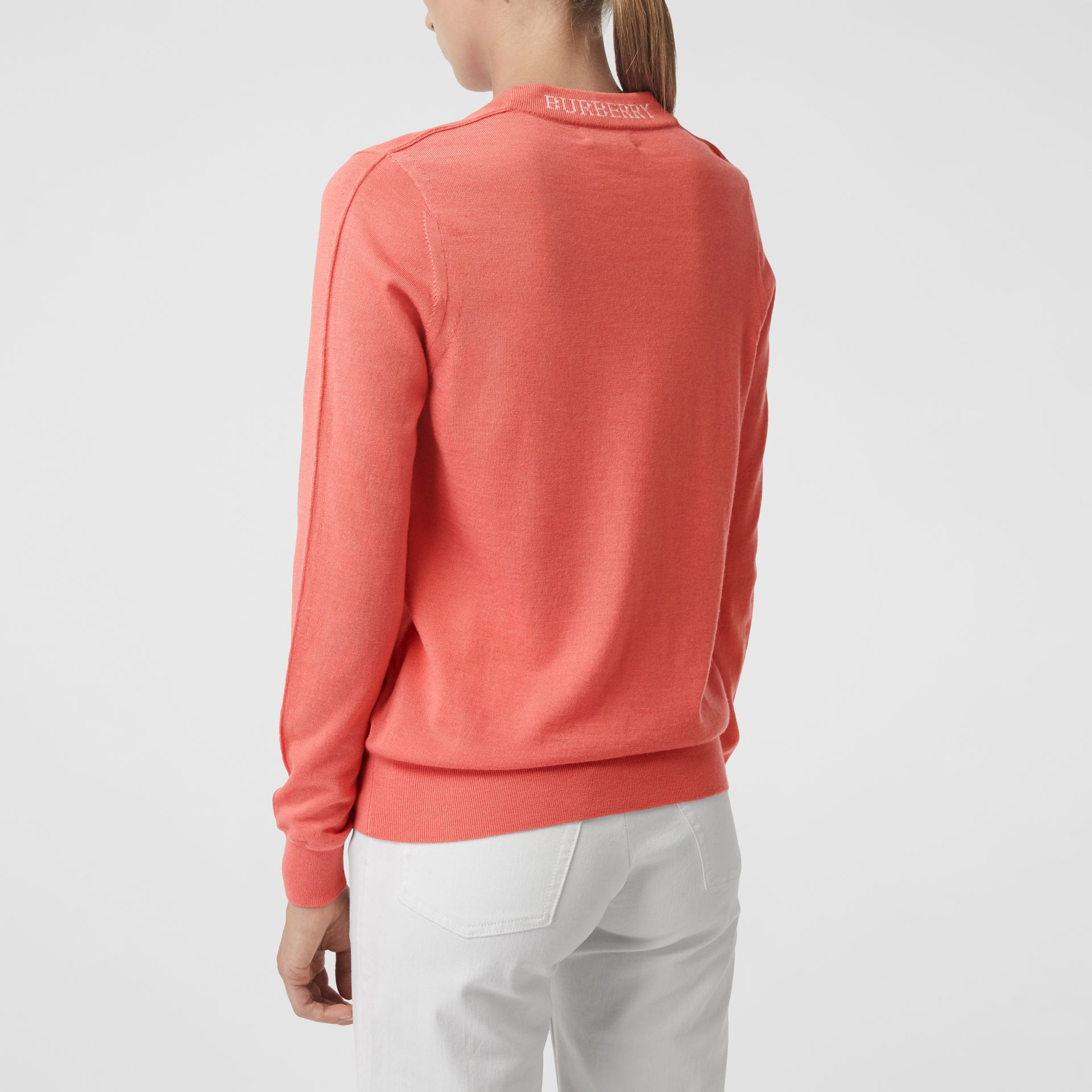 Merino Wool Crew Neck Sweater in Coral - Women | Burberry United States - gallery image 2