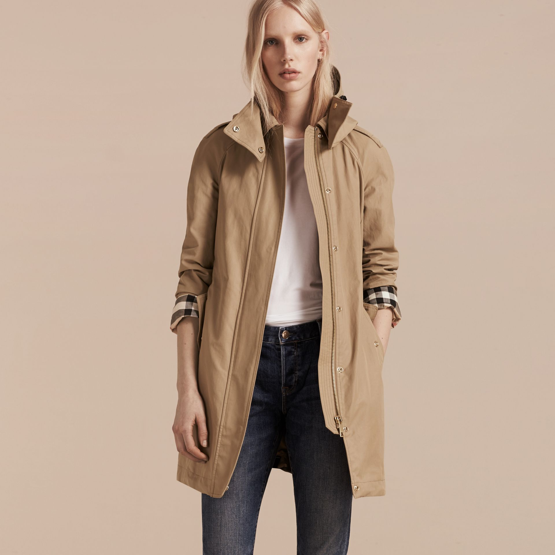 Canvas Hooded Cotton Blend Parka with Detachable Warmer Canvas - gallery image 8