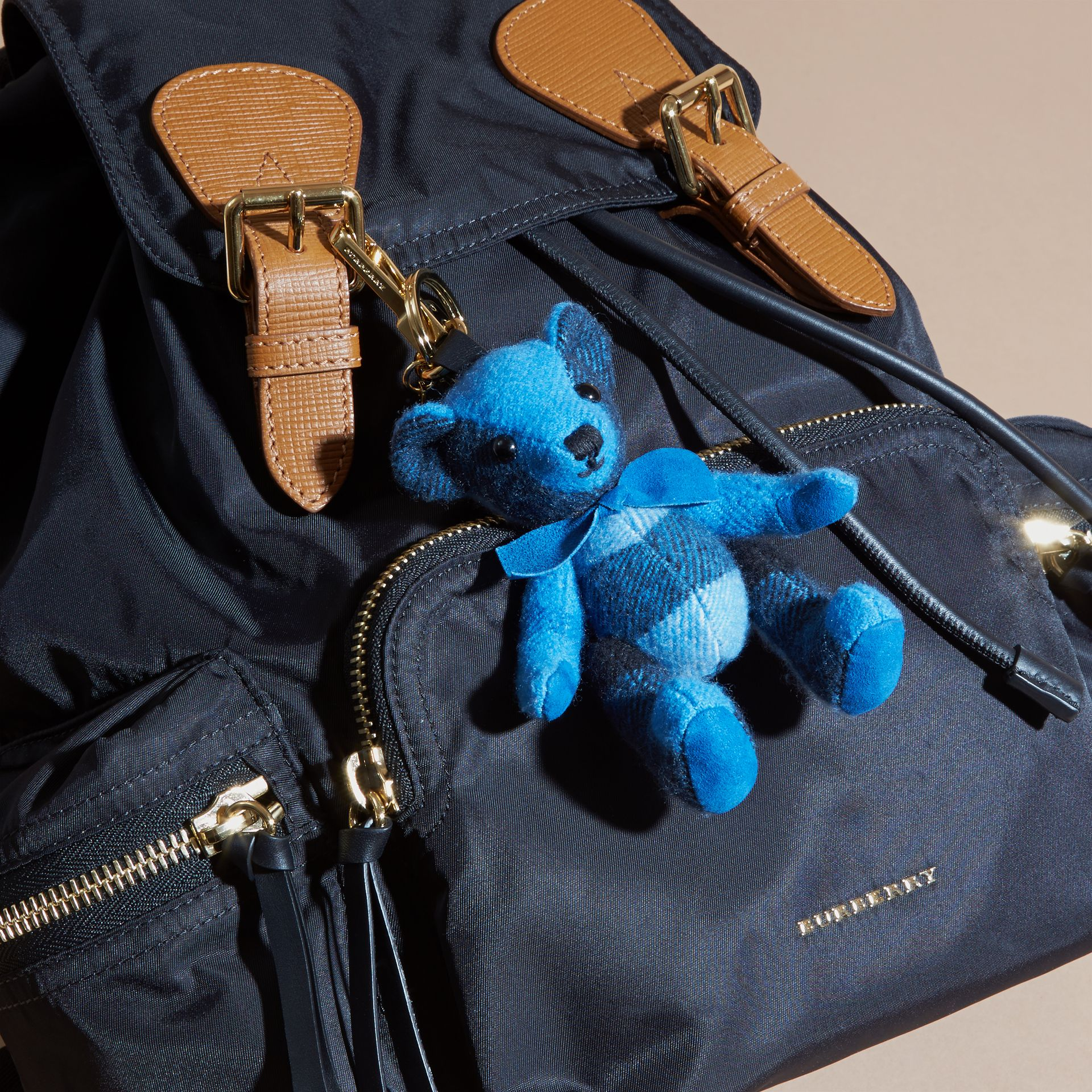Thomas Bear Charm in Check Cashmere in Bright Cornflower Blue | Burberry - gallery image 3