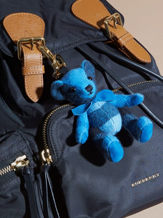 Thomas Bear Charm in Check Cashmere in Bright Cornflower Blue | Burberry - cell image 2