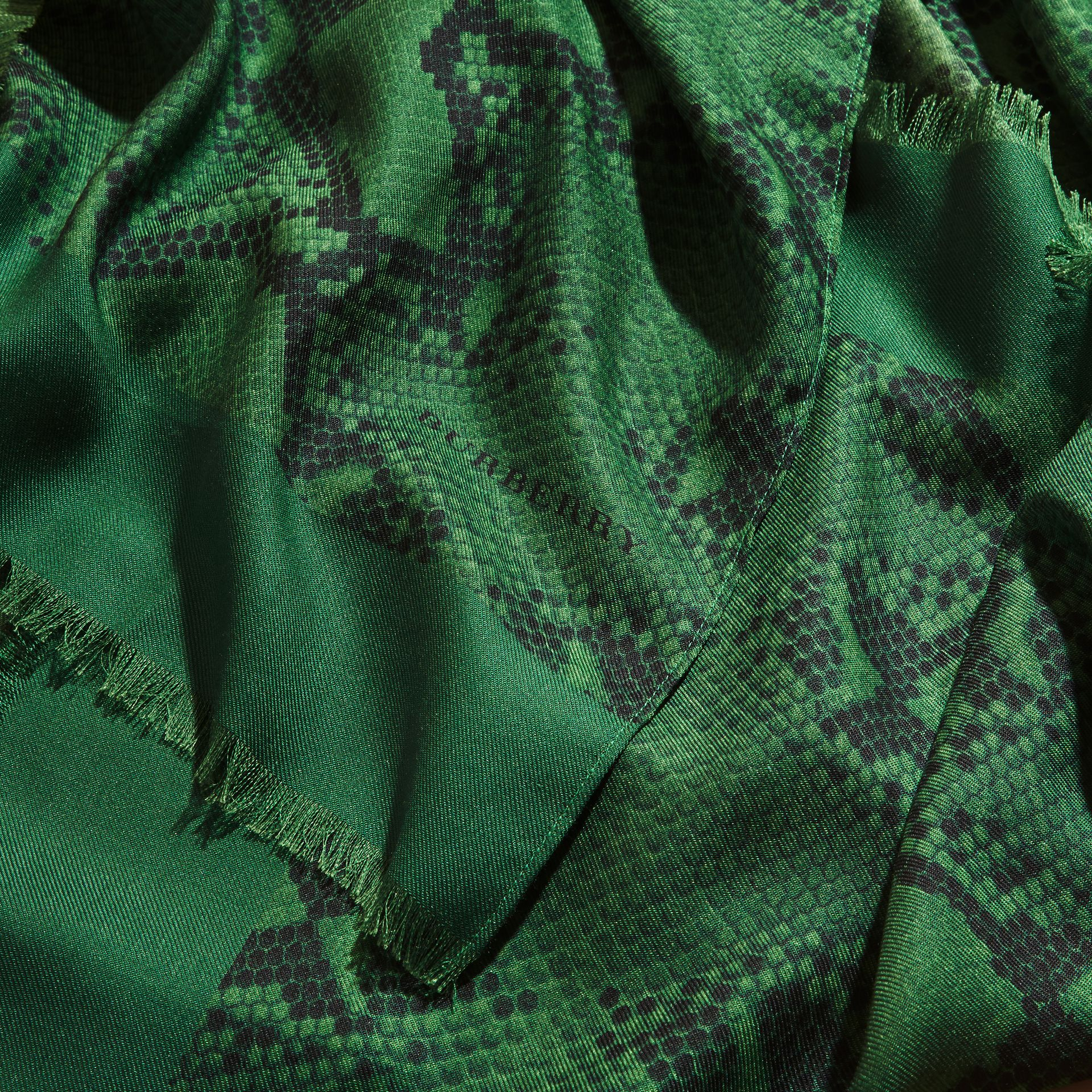 Bright green Lightweight Python Print Wool Cashmere Silk Poncho Bright Green - gallery image 2