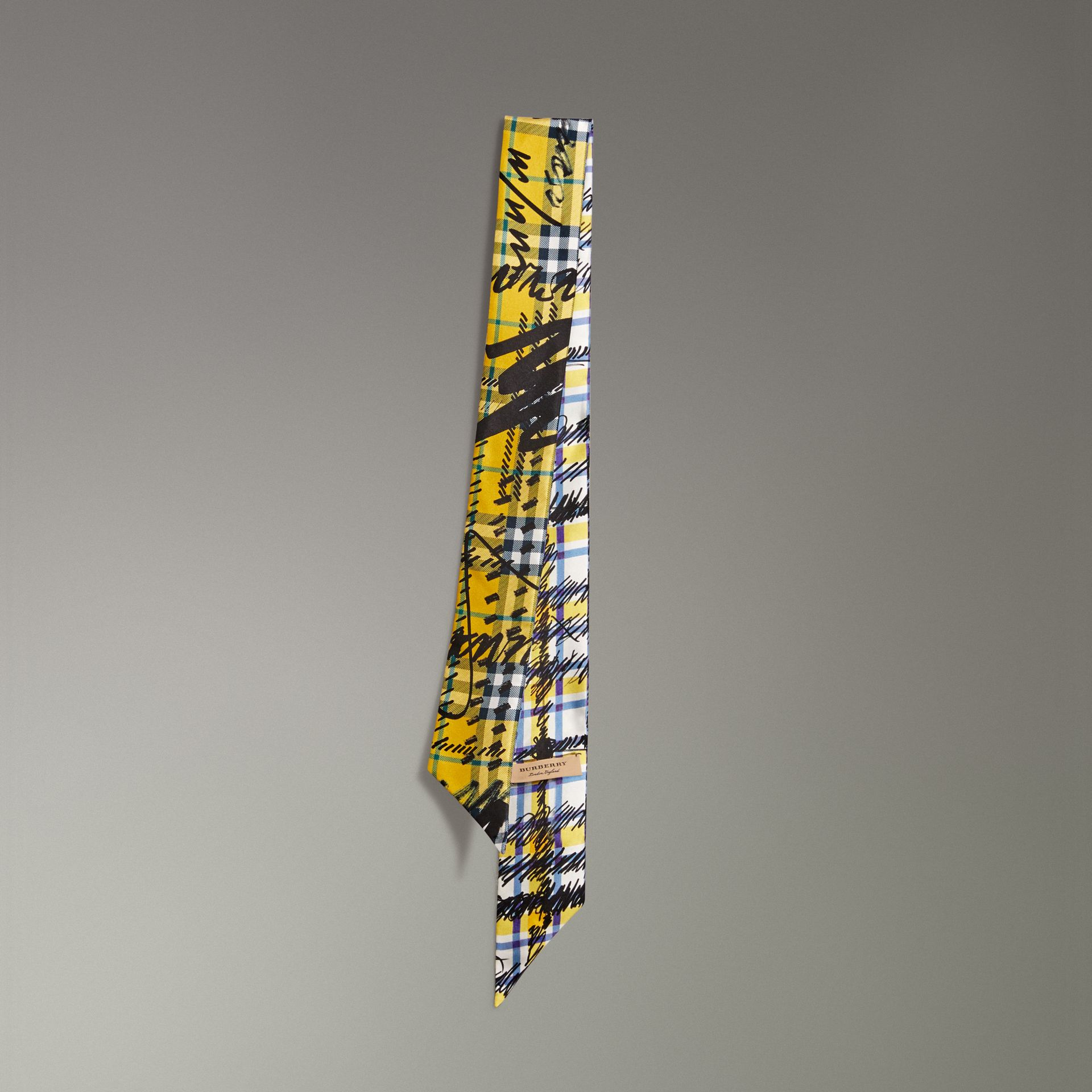 Scribble Check Silk Slim Scarf in Amber Yellow - Women | Burberry - gallery image 0