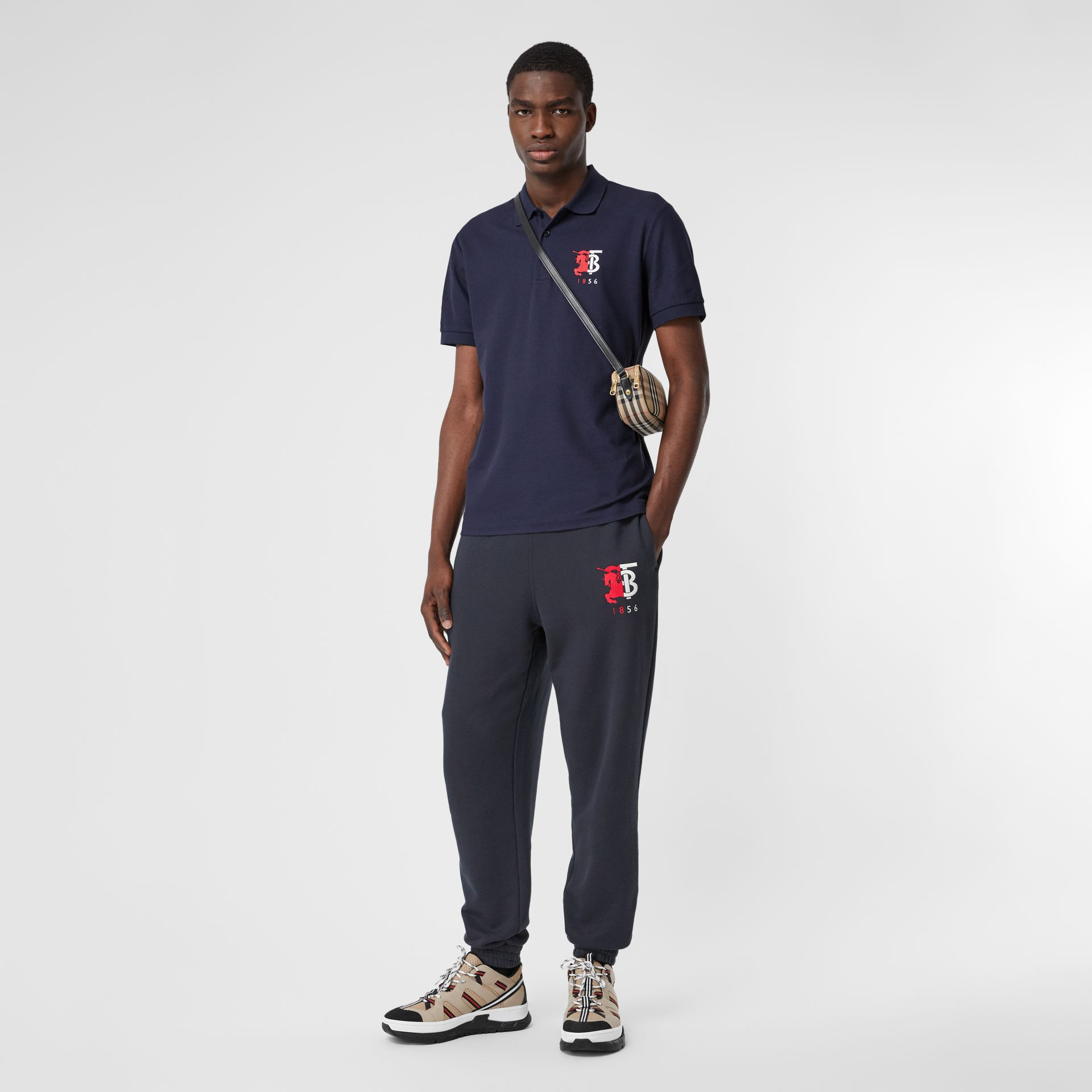 Logo Graphic Cotton Trackpants in Navy - Men | Burberry - gallery image 4