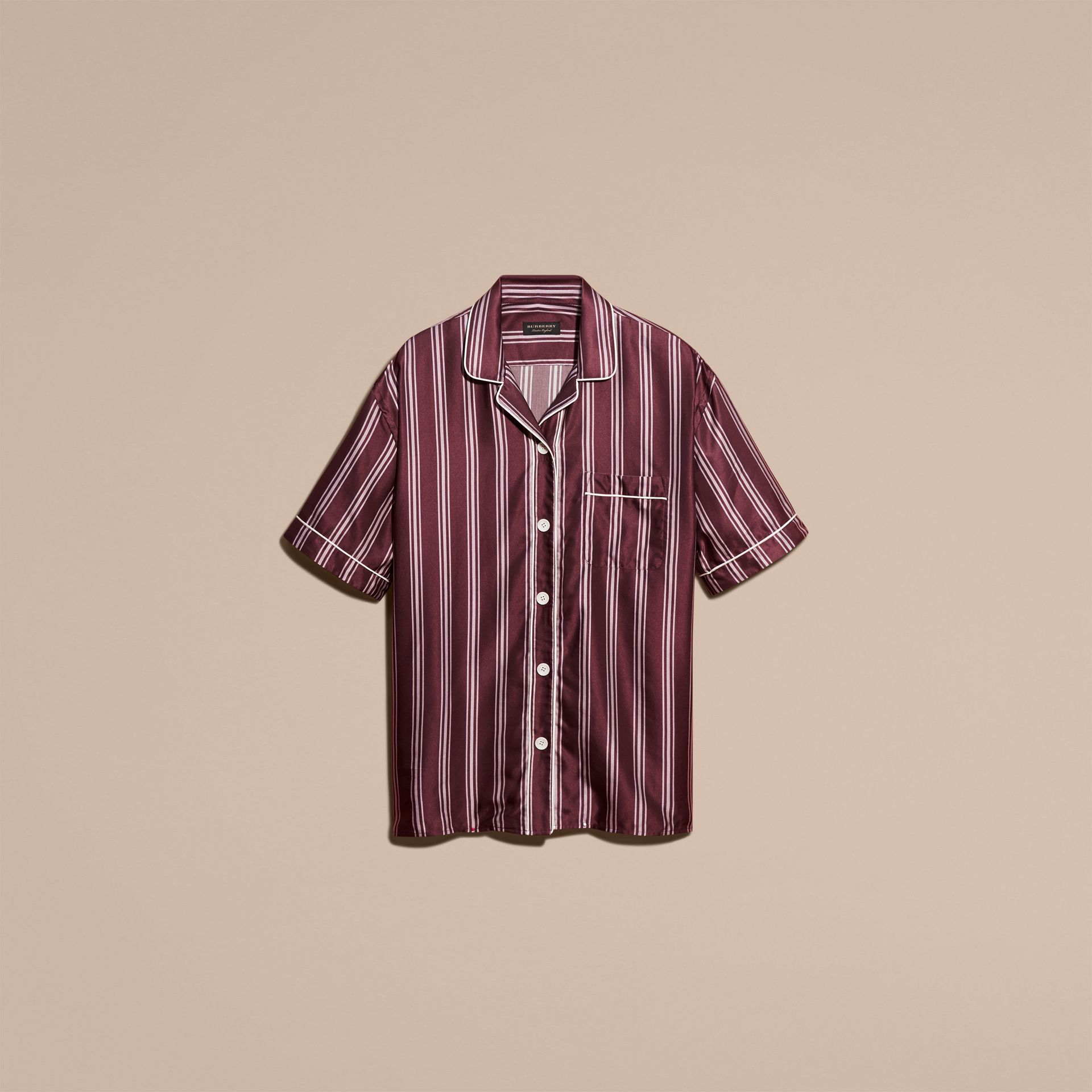 Crimson Short-sleeved Panama Stripe Cotton Silk Shirt - gallery image 4