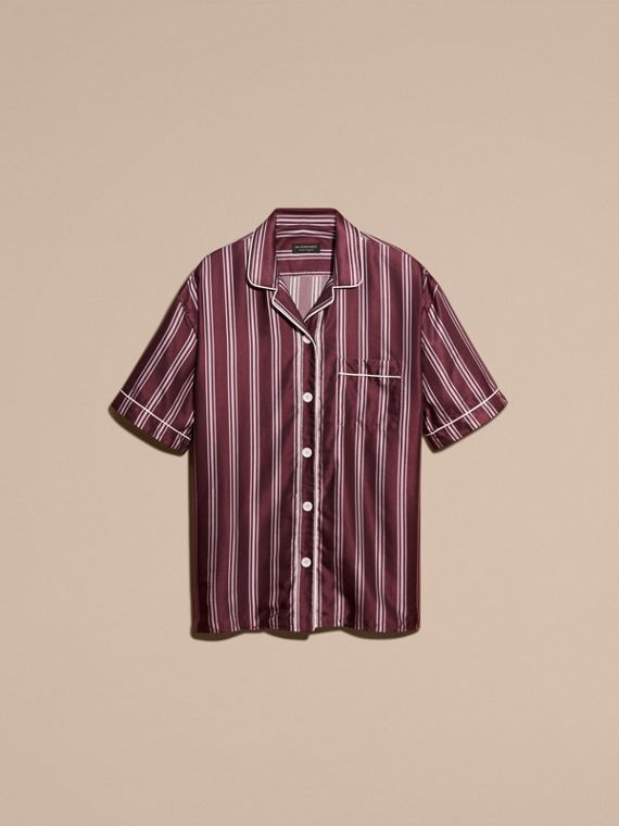 Crimson Short-sleeved Panama Stripe Cotton Silk Shirt - cell image 3