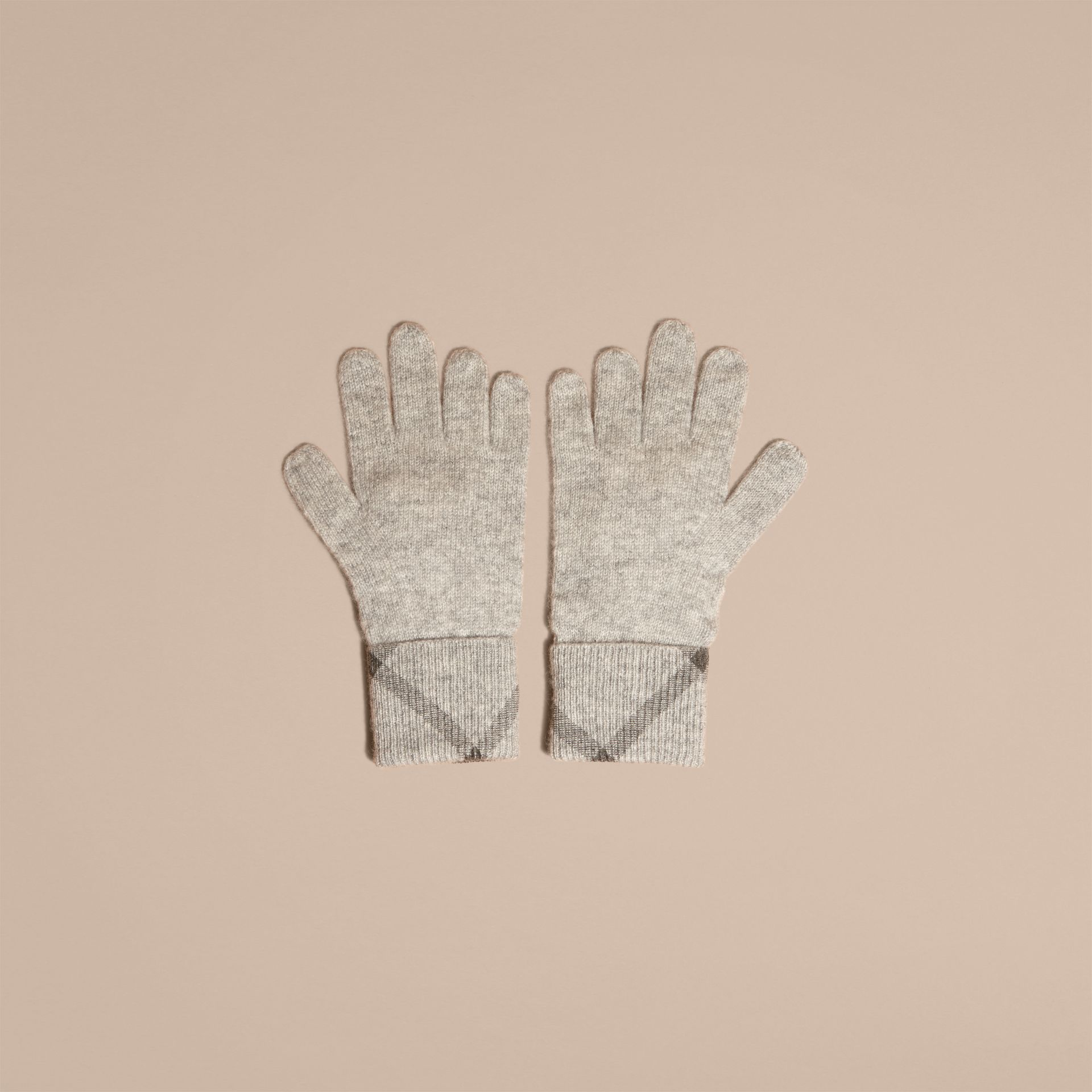 Pale grey melange Check Detail Cashmere Gloves - gallery image 3