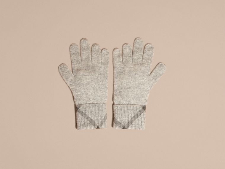 Pale grey melange Check Detail Cashmere Gloves - cell image 2