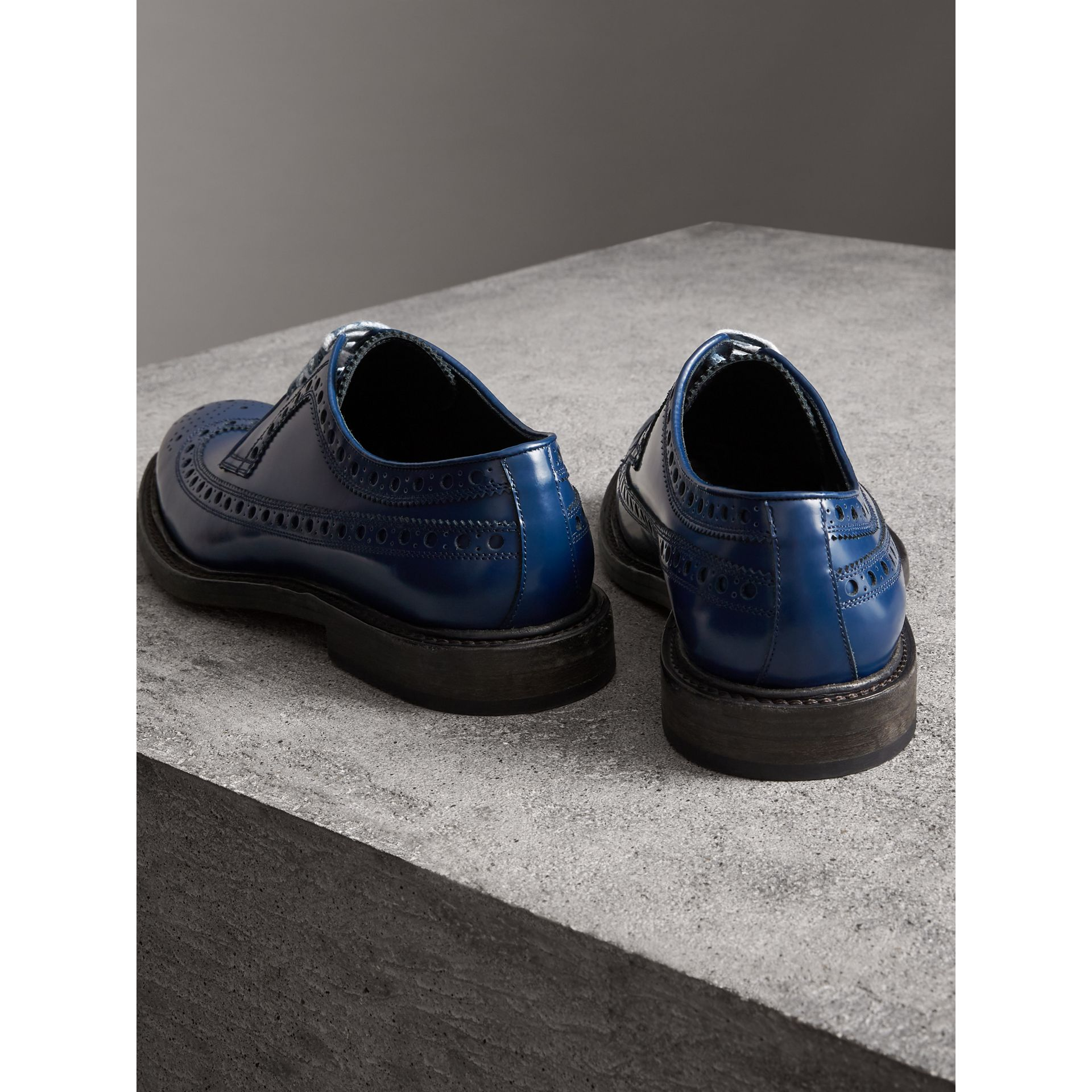 Leather Brogues with Painted Laces in Navy - Men | Burberry - gallery image 3