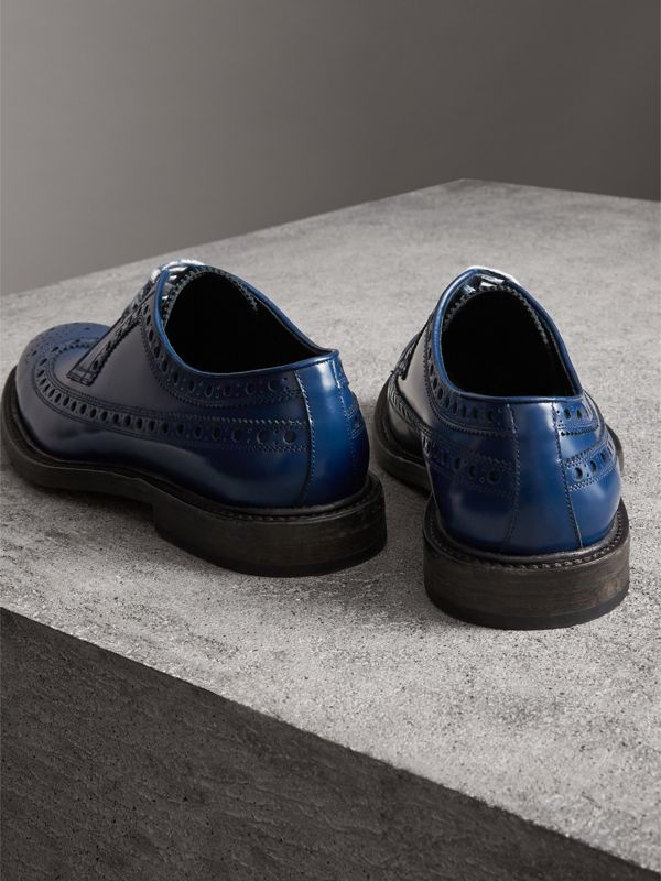 Leather Brogues with Painted Laces in Navy - Men | Burberry - cell image 3