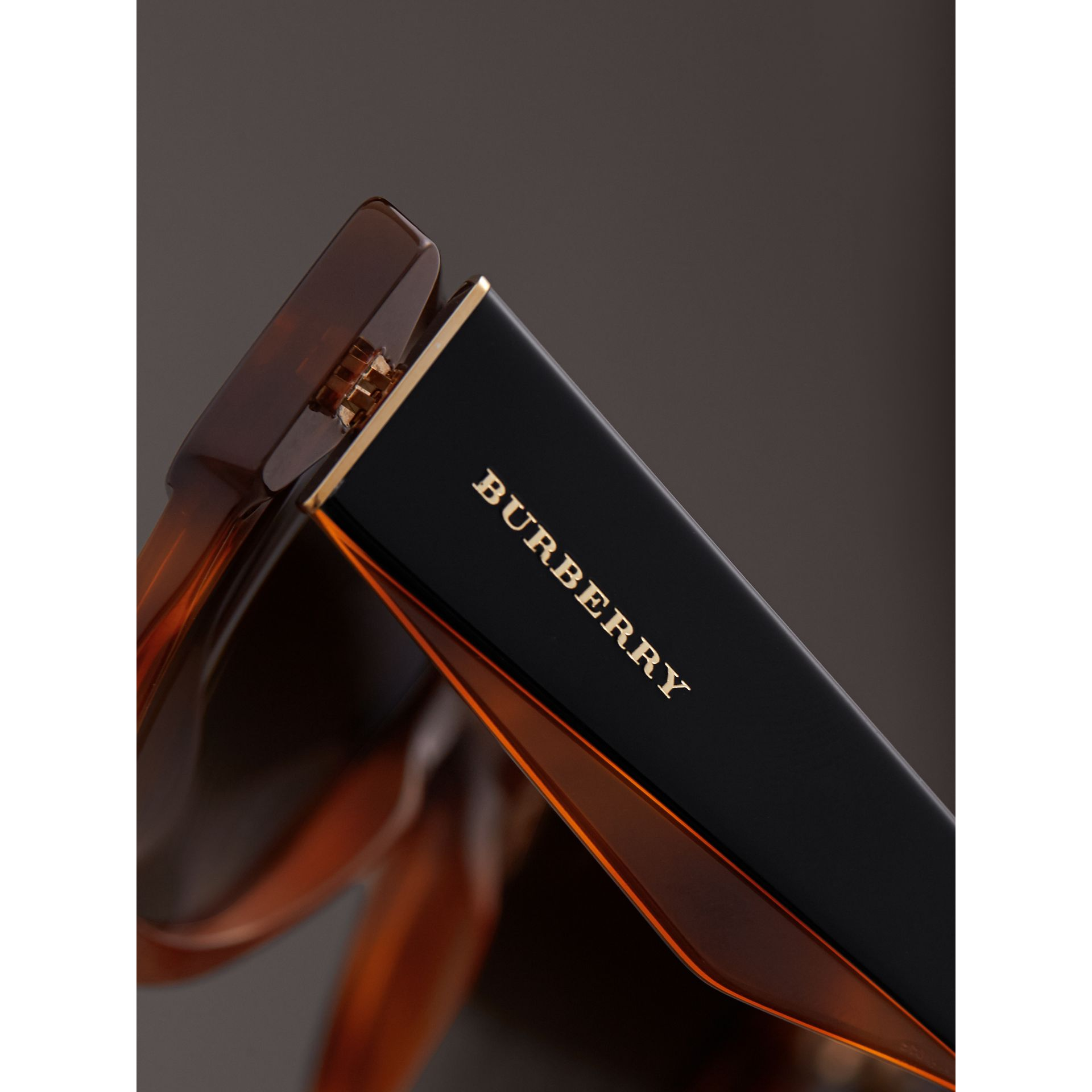Two-tone Square Frame Sunglasses in Light Brown - Women | Burberry Singapore - gallery image 2