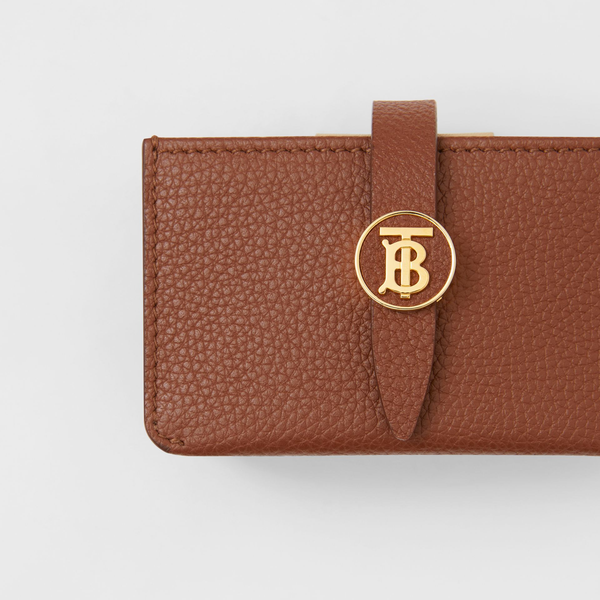 Monogram Motif Grainy Leather Card Case in Tan | Burberry - gallery image 1
