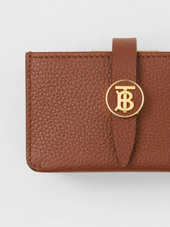 Monogram Motif Grainy Leather Card Case in Tan | Burberry - cell image 1