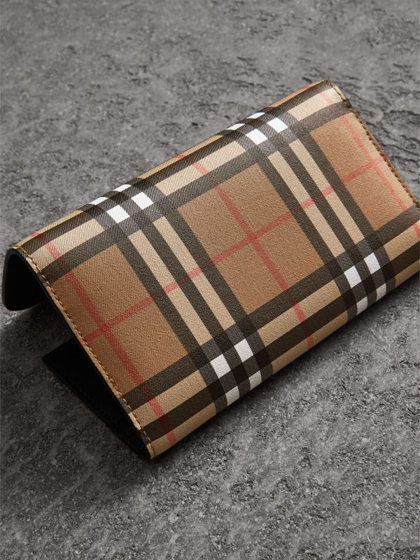 Vintage Check Continental Wallet with Zip Card Case in Black - Women | Burberry United Kingdom - cell image 2