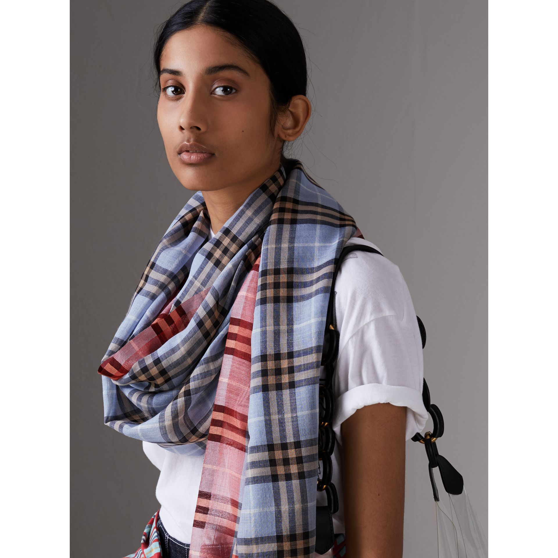 Check Wool Silk Scarf in Pale Slate Blue | Burberry United Kingdom - gallery image 2