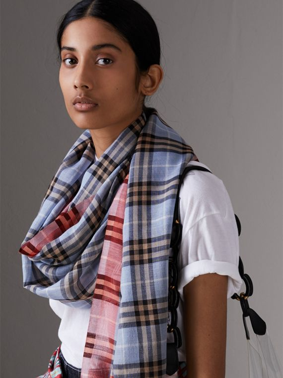 Check Wool Silk Scarf in Pale Slate Blue | Burberry - cell image 2