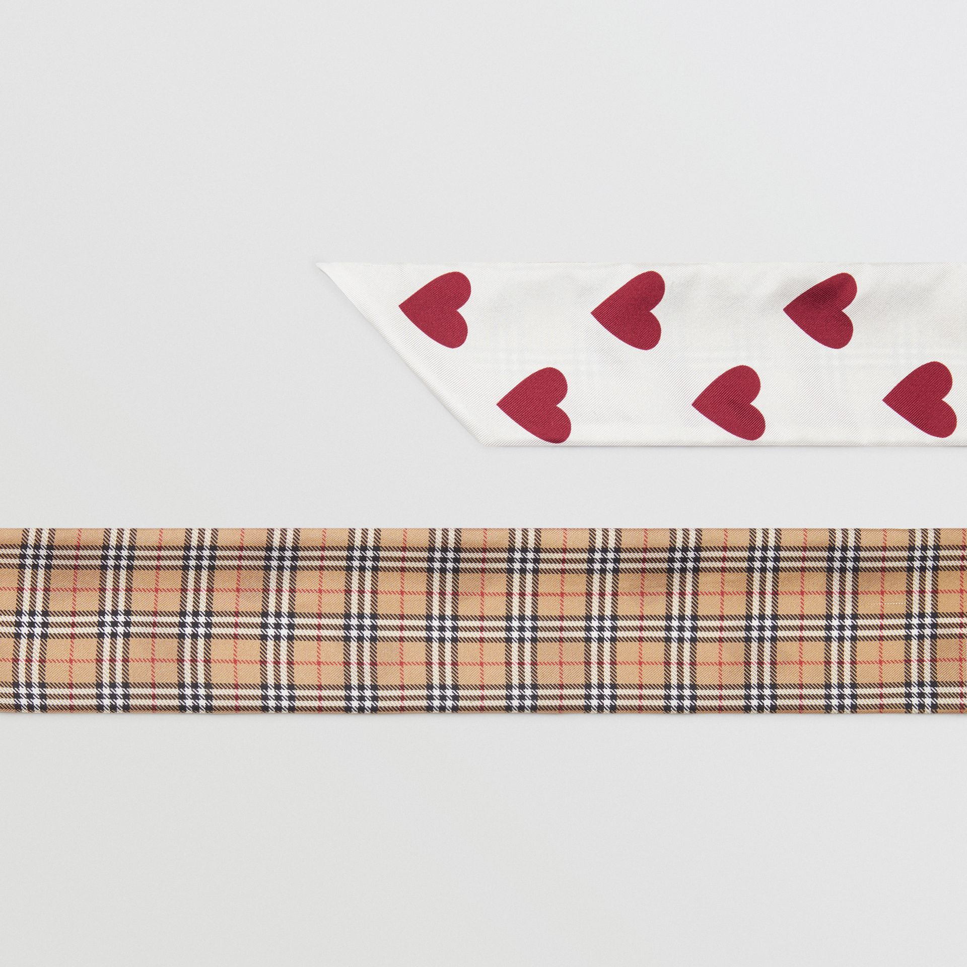 Small Scale Check and Heart Print Silk Skinny Scarf in Multicolour | Burberry - gallery image 1