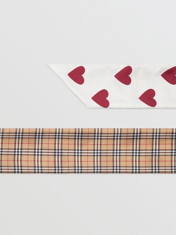 Small Scale Check and Heart Print Silk Skinny Scarf in Multicolour | Burberry Australia - cell image 1