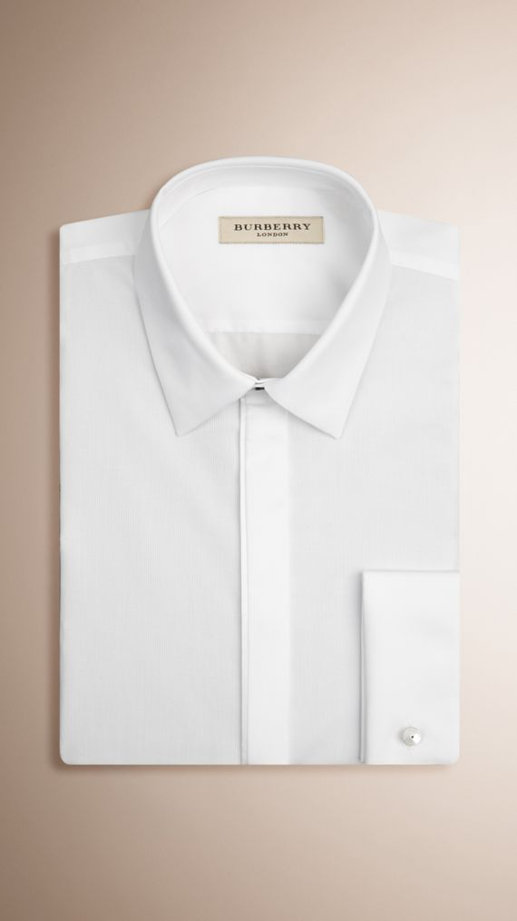 Camisa de vestir de corte ajustado en algodón con puños dobles (Blanco)