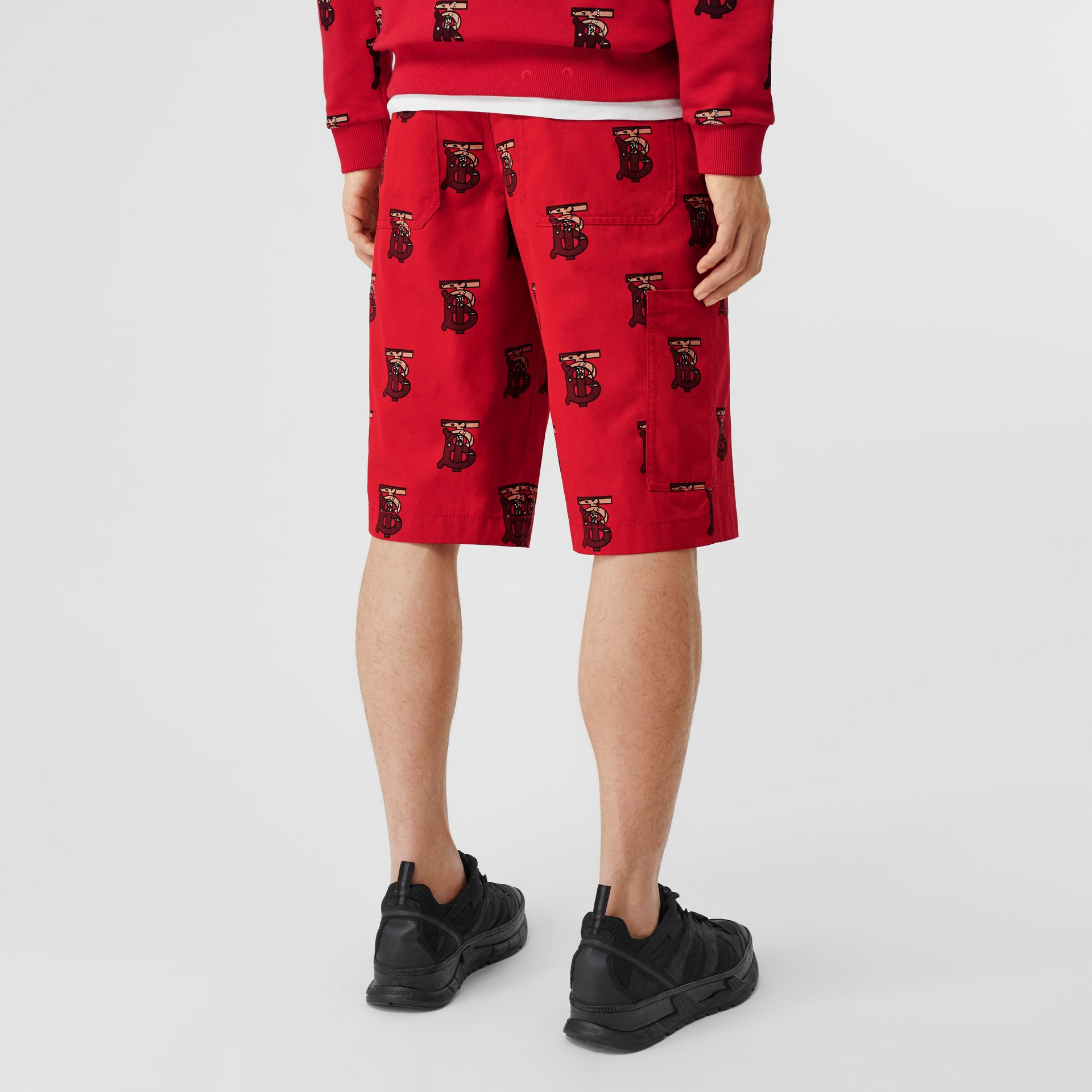 Monogram Motif Cotton Tailored Shorts in Bright Red - Men | Burberry - gallery image 2