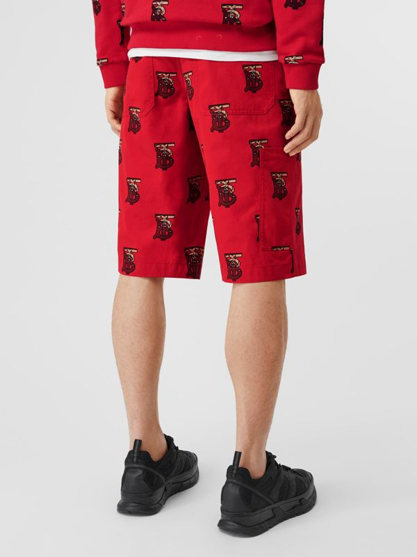 Monogram Motif Cotton Tailored Shorts in Bright Red - Men | Burberry - cell image 2