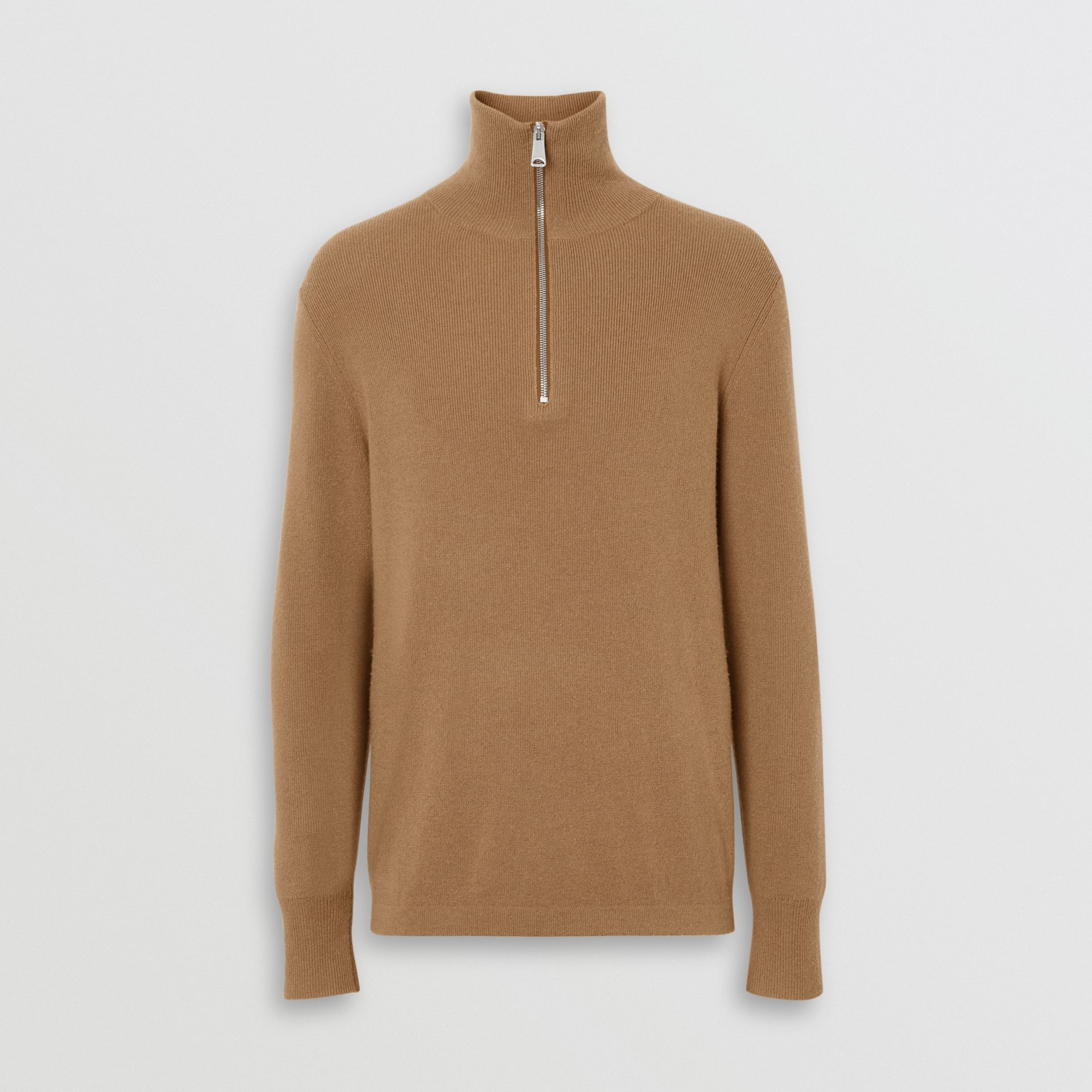 Rib Knit Cashmere Half-zip Sweater in Camel - Men | Burberry United Kingdom - gallery image 3