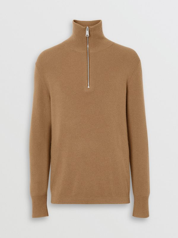 Rib Knit Cashmere Half-zip Sweater in Camel - Men | Burberry United States - cell image 3