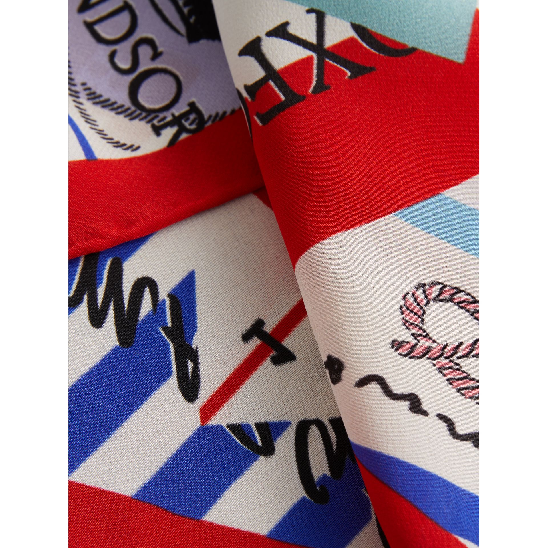Ticket Stub Print Silk Scarf in Bright Red - Women | Burberry United Kingdom - gallery image 1