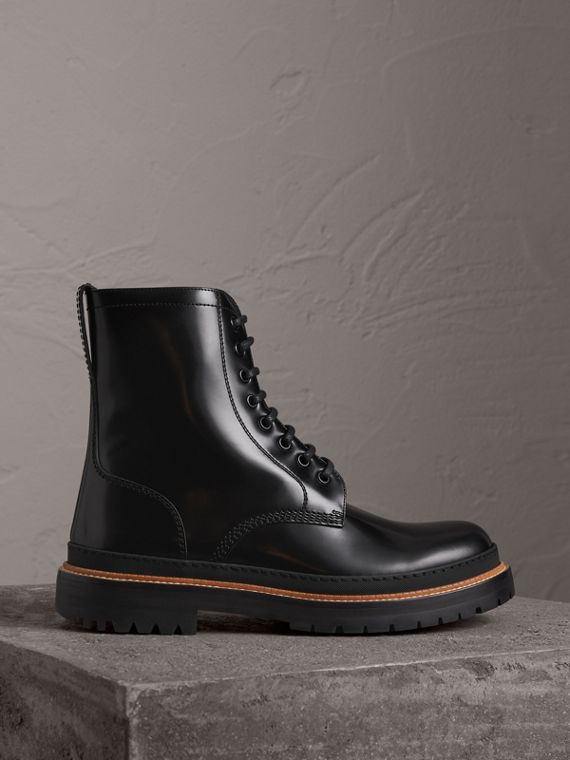 Lace-up Polished Leather Boots in Black