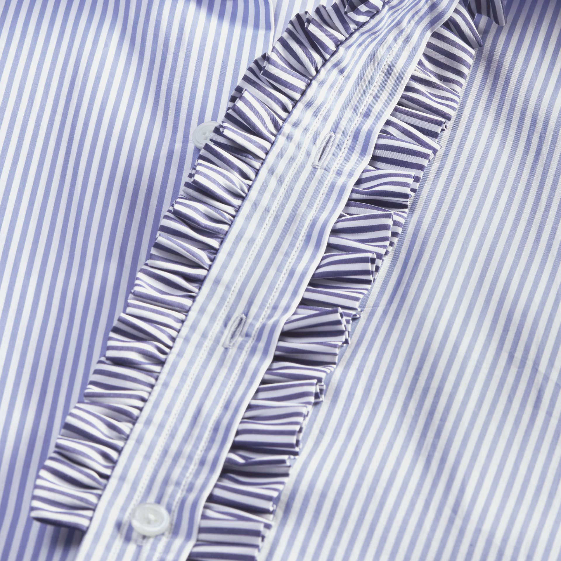 Hydrangea blue Ruffle Placket Striped Cotton Shirt - gallery image 2