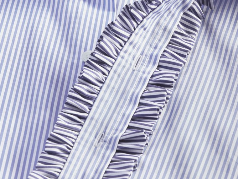 Ruffle Placket Striped Cotton Shirt - cell image 1