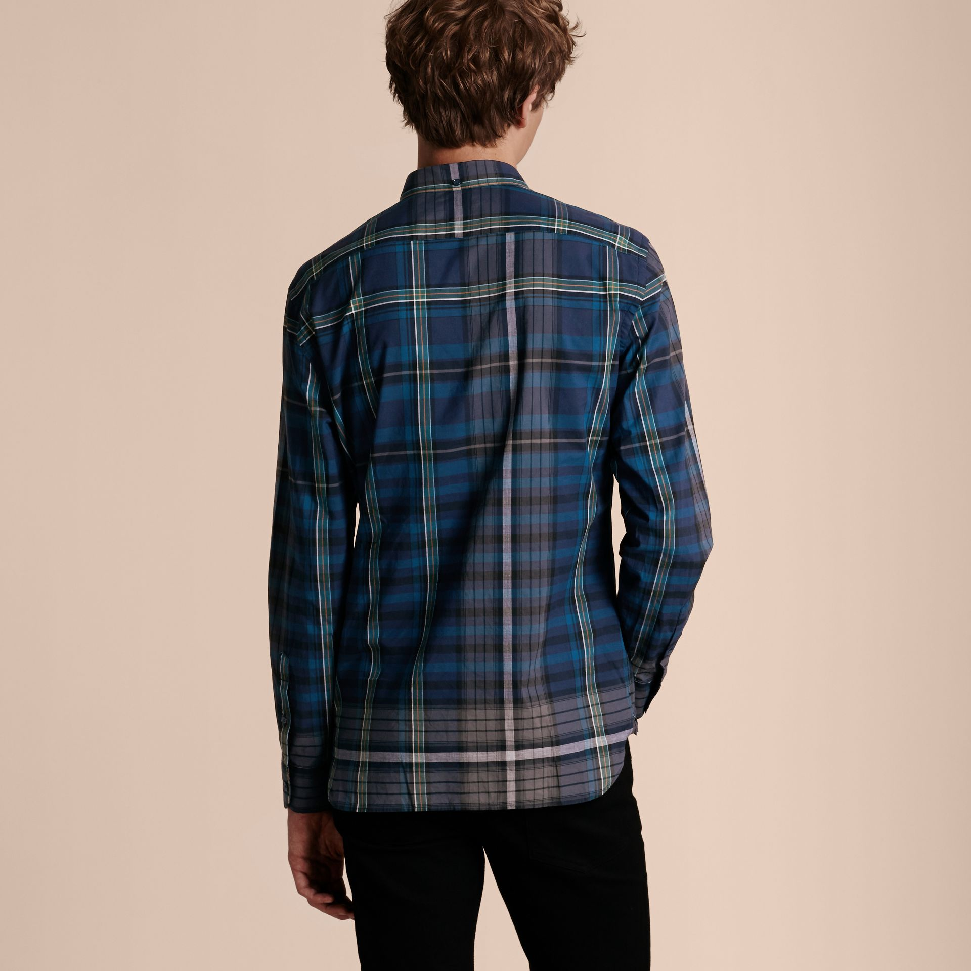 Indigo Button-down Collar Check Cotton Shirt Indigo - gallery image 3