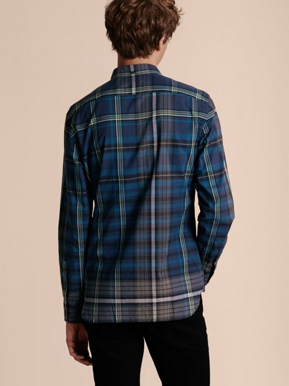 Indigo Button-down Collar Check Cotton Shirt Indigo - cell image 2
