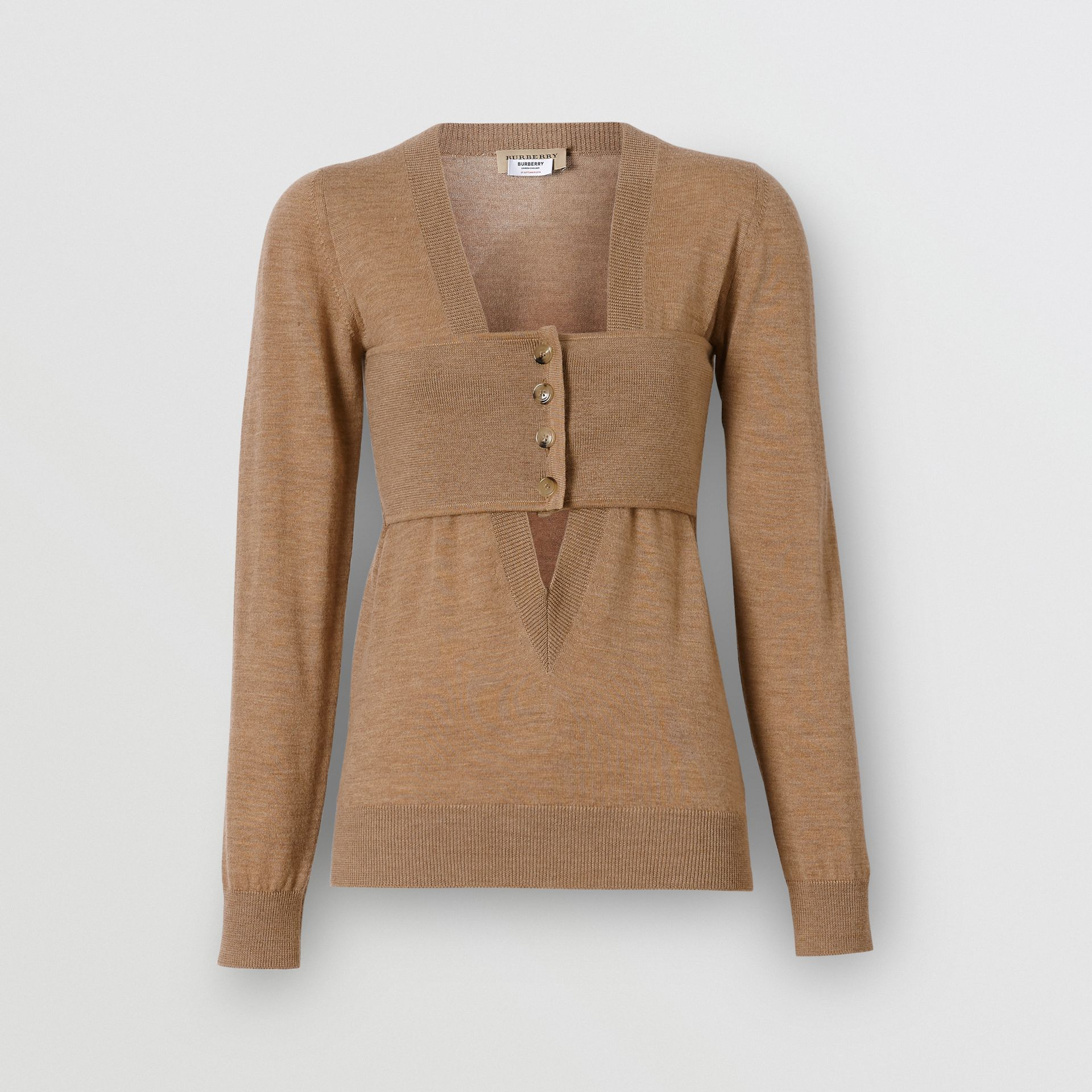 Button Panel Detail Merino Wool V-neck Sweater in Sand - Women | Burberry Canada - gallery image 3