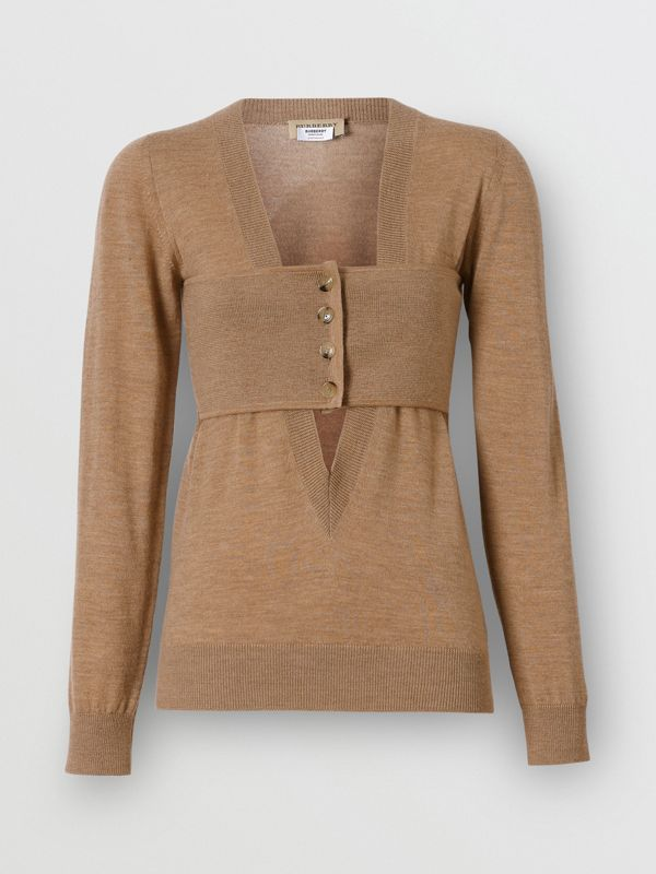 Button Panel Detail Merino Wool V-neck Sweater in Sand - Women | Burberry - cell image 3