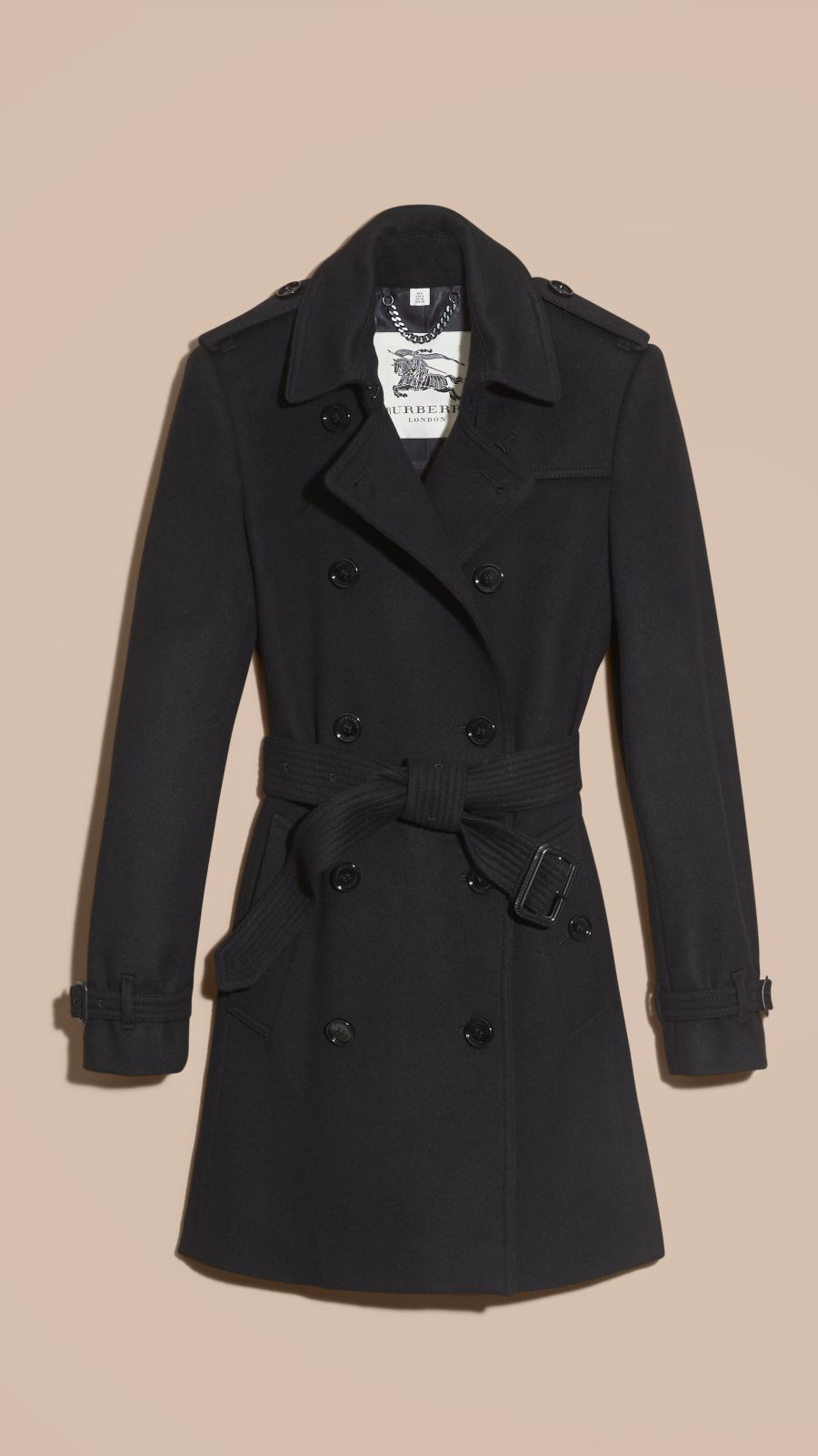 Black Virgin Wool Cashmere Trench Coat - Image 4