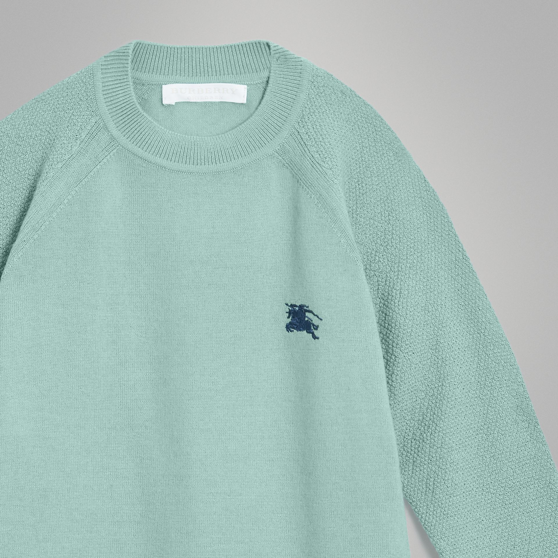 Crew Neck Cashmere Sweater in Dusty Mint Melange | Burberry Australia - gallery image 4