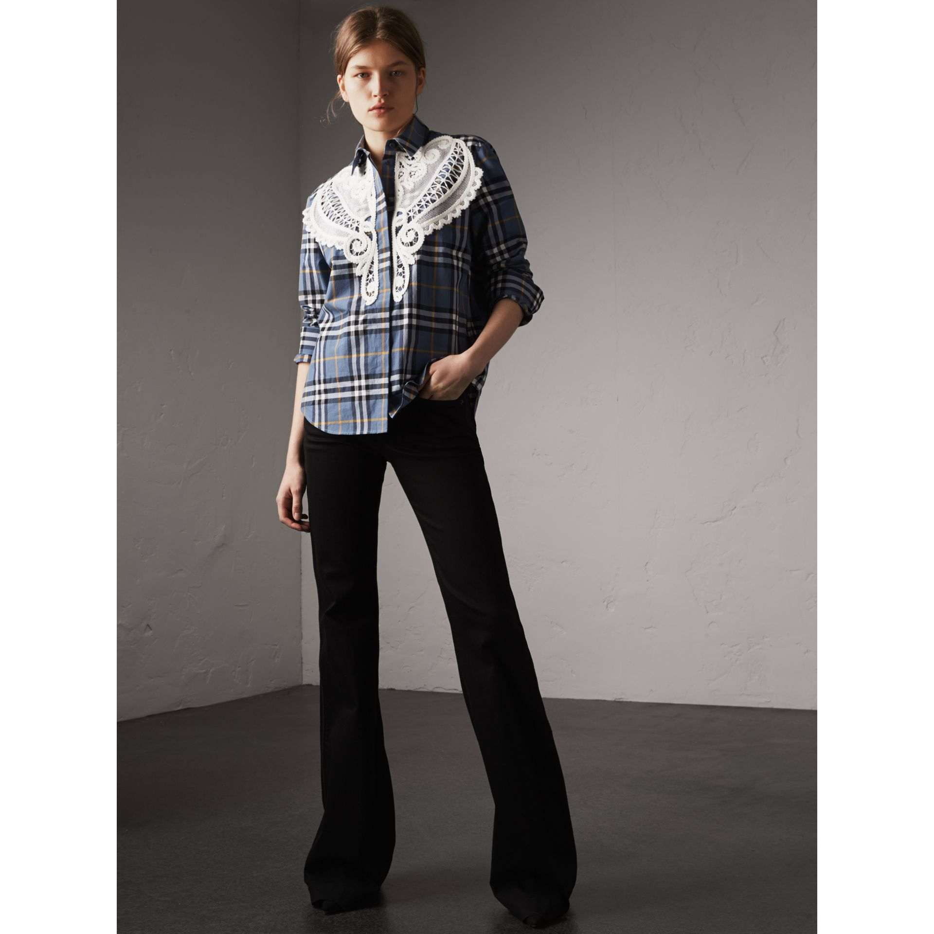 Lace Appliqué Check Cotton Shirt - Women | Burberry - gallery image 1