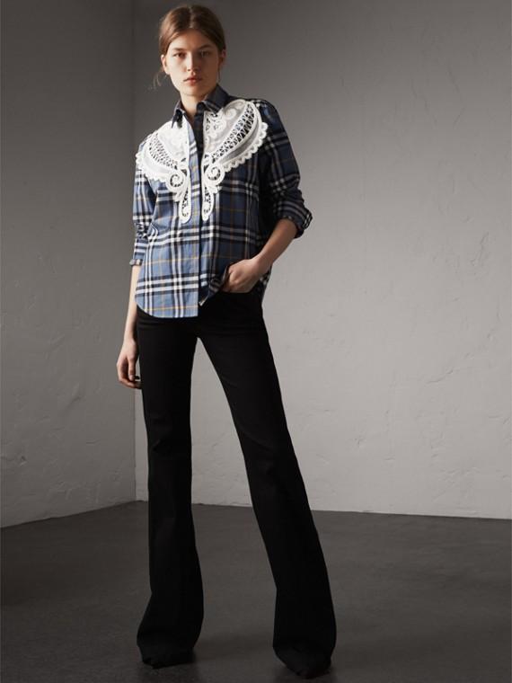 Lace Appliqué Check Cotton Shirt in Pewter Blue