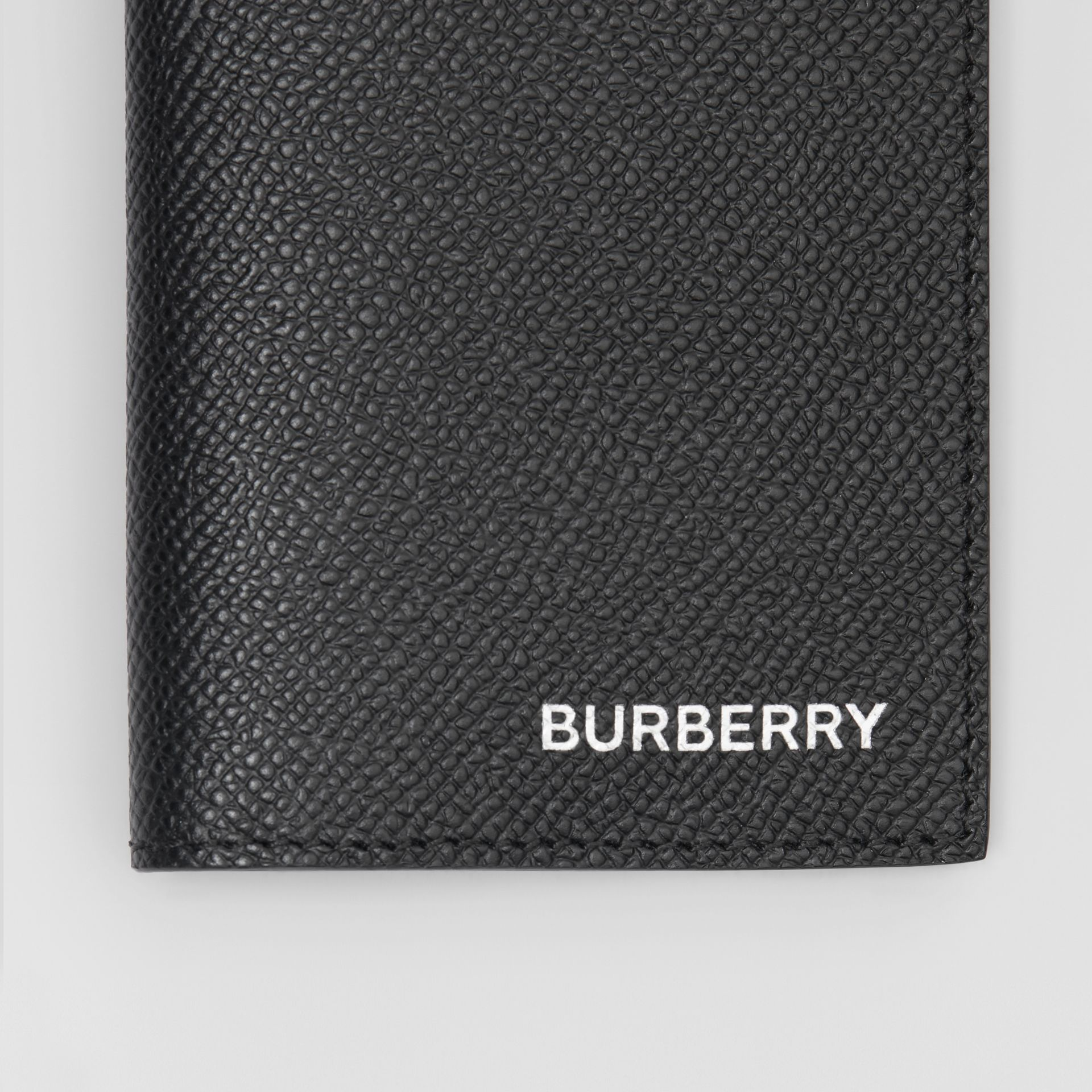 Grainy Leather Bifold Card Case in Black - Men | Burberry - gallery image 1
