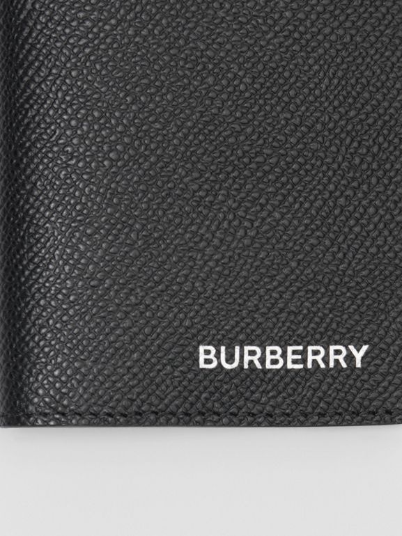 Grainy Leather Bifold Card Case in Black - Men | Burberry - cell image 1