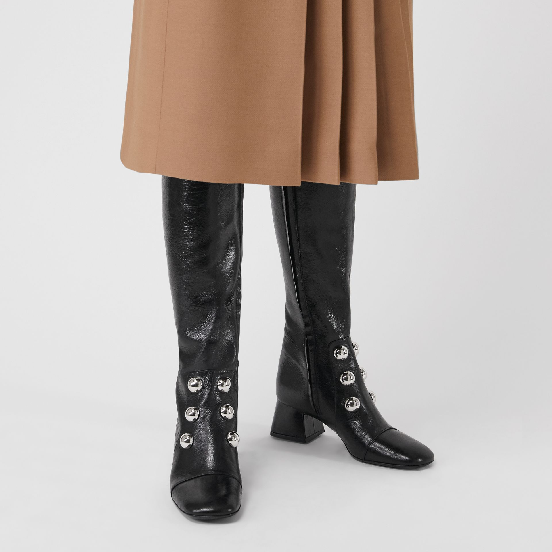 Stud Detail Leather Knee-high Boots in Black - Women | Burberry United States - gallery image 2