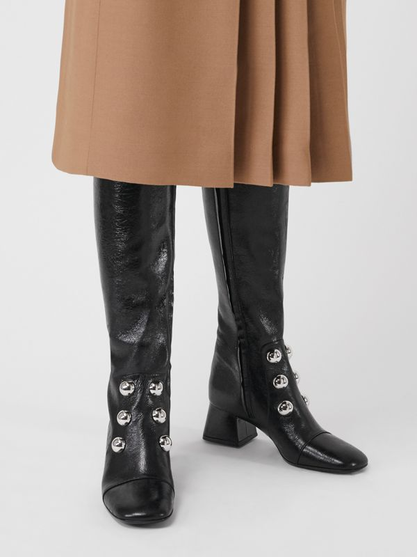 Stud Detail Leather Knee-high Boots in Black - Women | Burberry - cell image 2