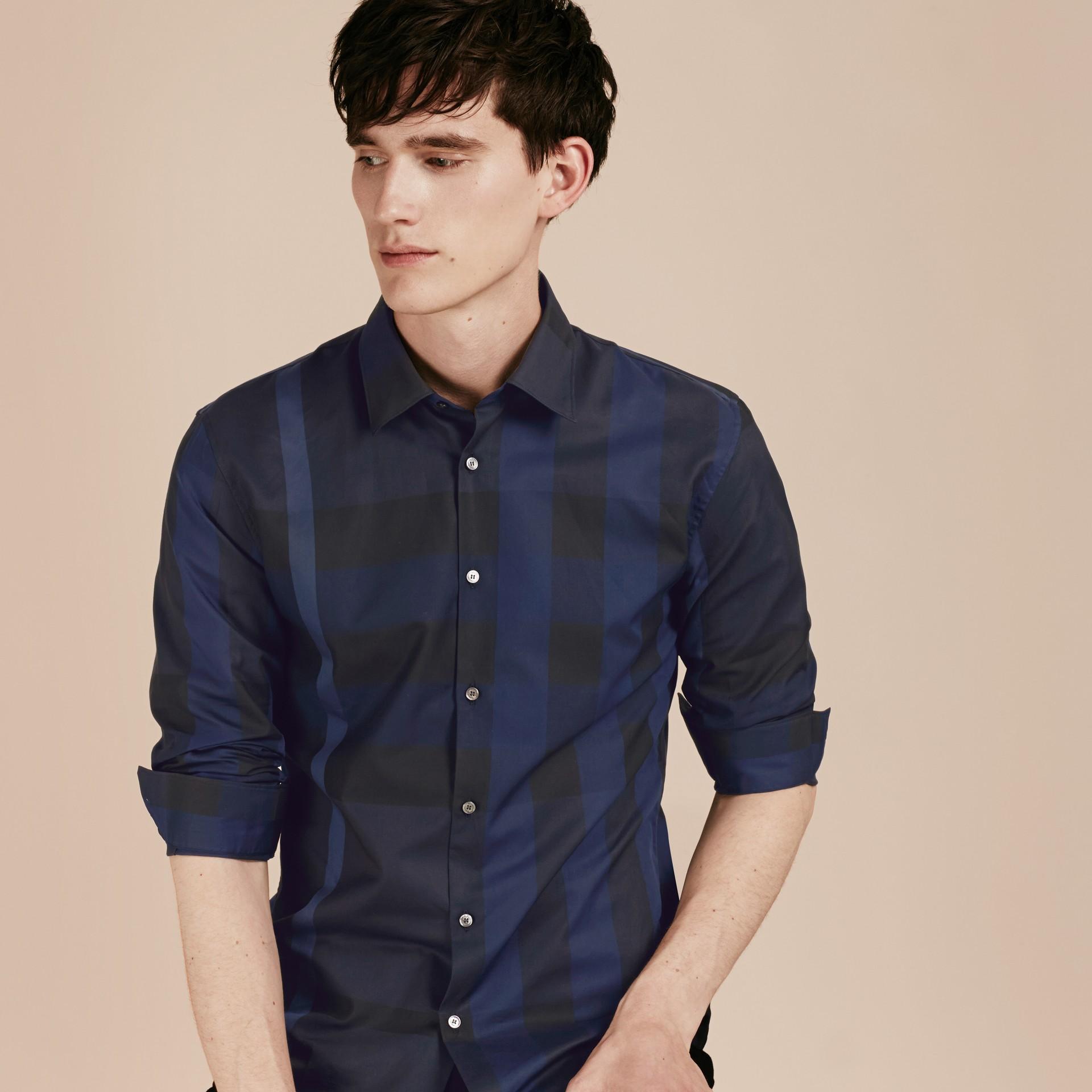 Azul marino Camisa en algodón con estampado de checks Azul Marino - imagen de la galería 6